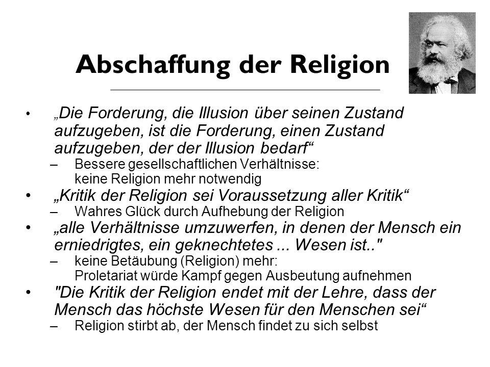 """Marx' Kritik an Feuerbach Psychologie: –Gegen: Konzentration auf menschliches Wesen Soziologie: –Übersieht: Religion ist Produkt der Gesellschaft –Individuum: Teil einer Gesellschaftsform Anthropologie: –Religion ist nicht Ursache der Entfremdung –Sondern: Religion ist Begleitphänomen der selbstentfremdeten Welt Philosophie: –""""Philosophen haben die Welt nur interpretiert, es kommt darauf an, die Welt zu verändern Feuerbach an Marx"""