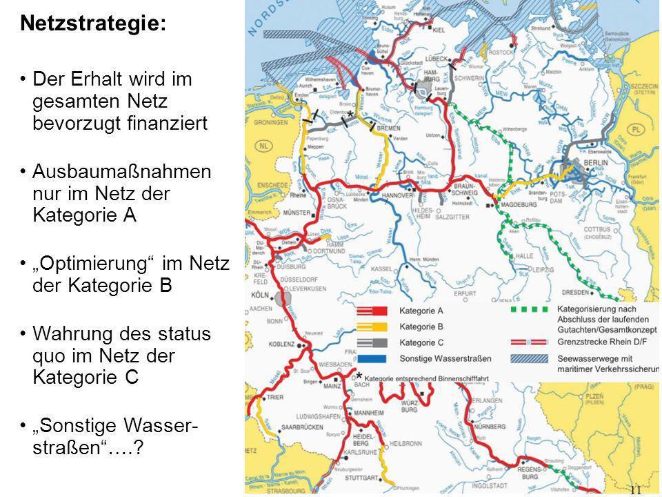 """Netzstrategie: Der Erhalt wird im gesamten Netz bevorzugt finanziert Ausbaumaßnahmen nur im Netz der Kategorie A """"Optimierung"""" im Netz der Kategorie B"""
