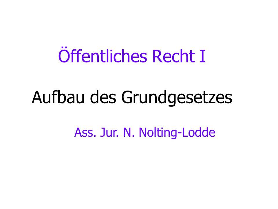 Öffentliches Recht I Aufbau des Grundgesetzes Ass. Jur. N. Nolting-Lodde