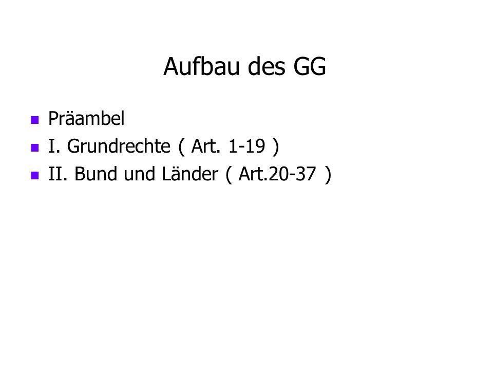 Aufbau des GG Präambel I. Grundrechte ( Art. 1-19 ) II. Bund und Länder ( Art.20-37 )