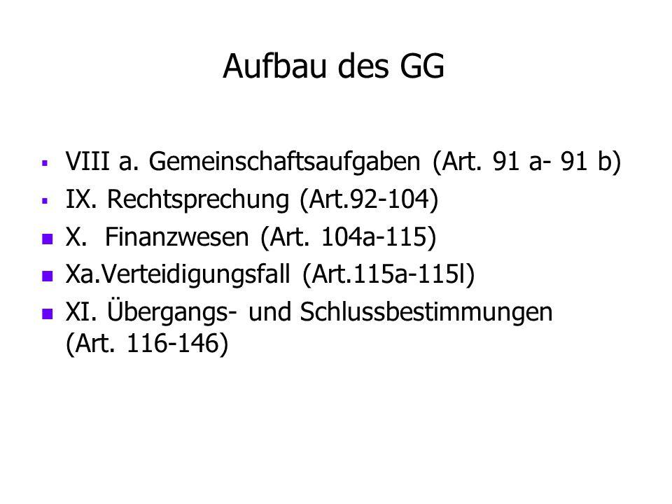 Aufbau des GG   VIII a. Gemeinschaftsaufgaben (Art. 91 a- 91 b)   IX. Rechtsprechung (Art.92-104) X. Finanzwesen (Art. 104a-115) Xa.Verteidigungsf