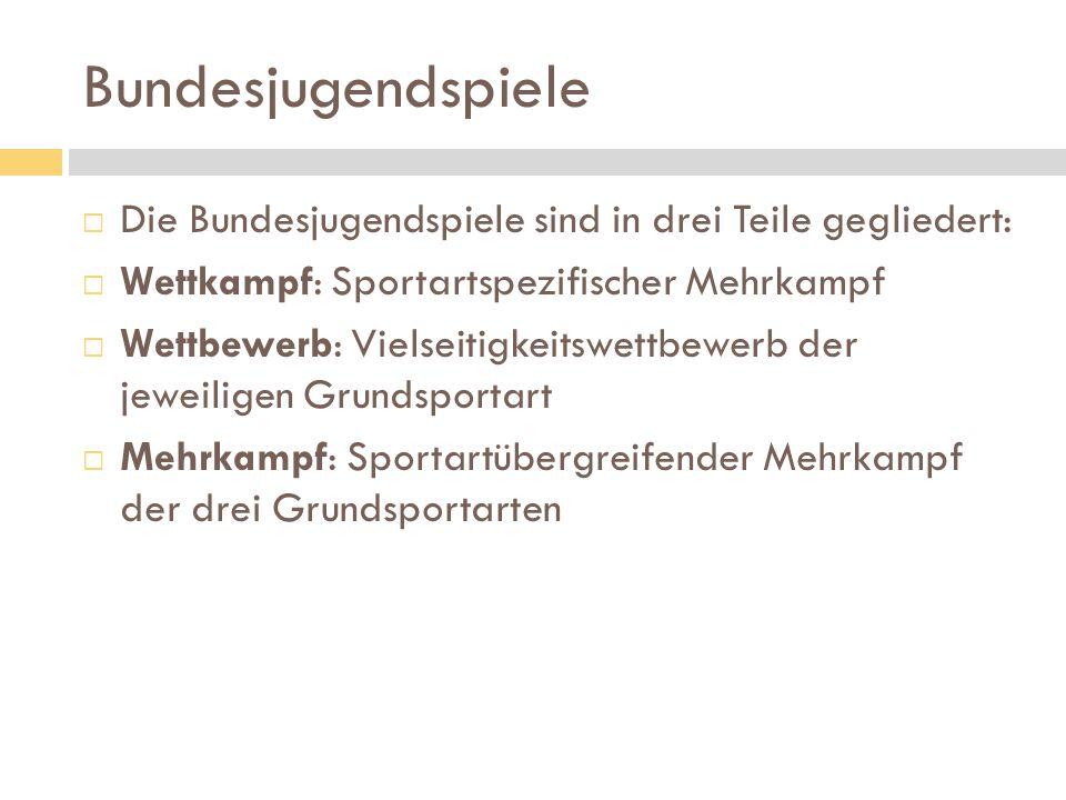 Bundesjugendspiele  Die Bundesjugendspiele sind in drei Teile gegliedert:  Wettkampf: Sportartspezifischer Mehrkampf  Wettbewerb: Vielseitigkeitswe