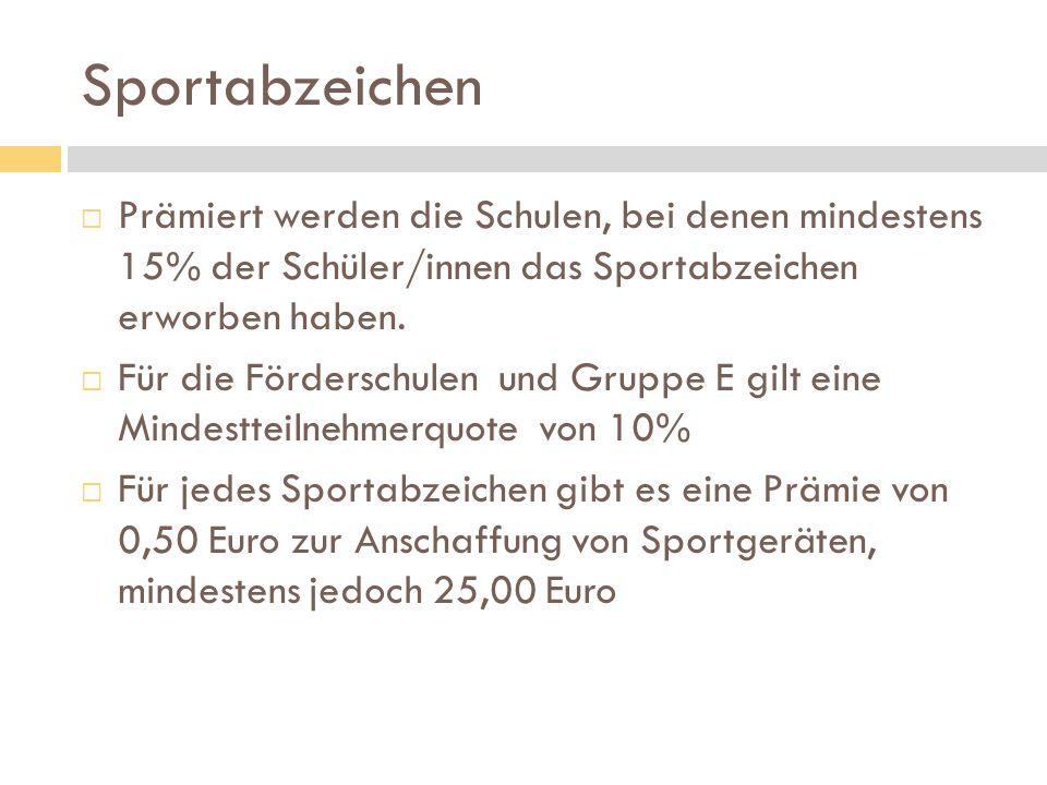 Sportabzeichen  Prämiert werden die Schulen, bei denen mindestens 15% der Schüler/innen das Sportabzeichen erworben haben.  Für die Förderschulen un