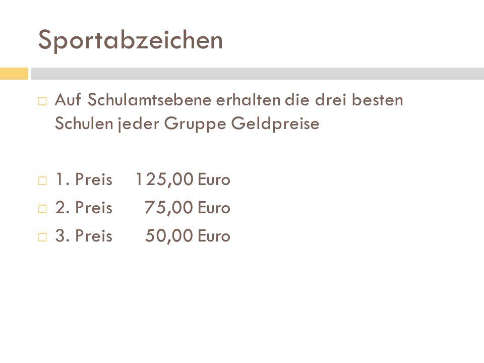 Sportabzeichen  Auf Schulamtsebene erhalten die drei besten Schulen jeder Gruppe Geldpreise  1. Preis125,00 Euro  2. Preis 75,00 Euro  3. Preis 50