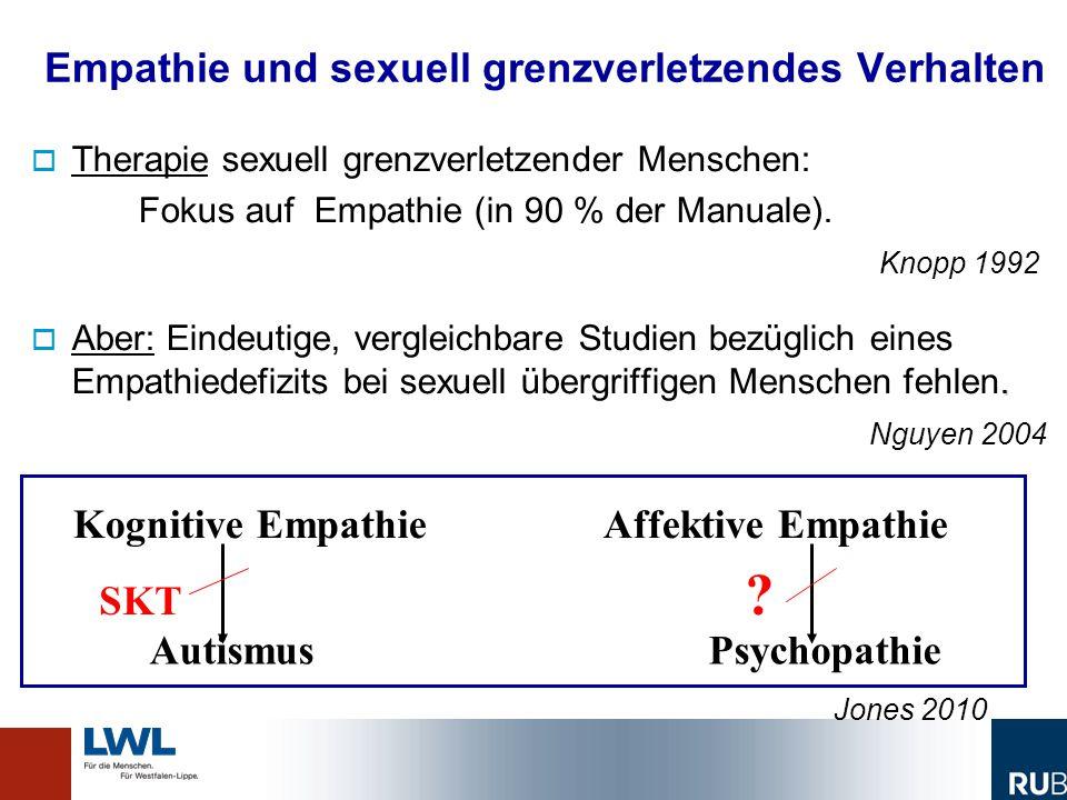 Empathie und sexuell grenzverletzendes Verhalten   Therapie sexuell grenzverletzender Menschen: Fokus auf Empathie (in 90 % der Manuale). Knopp 1992