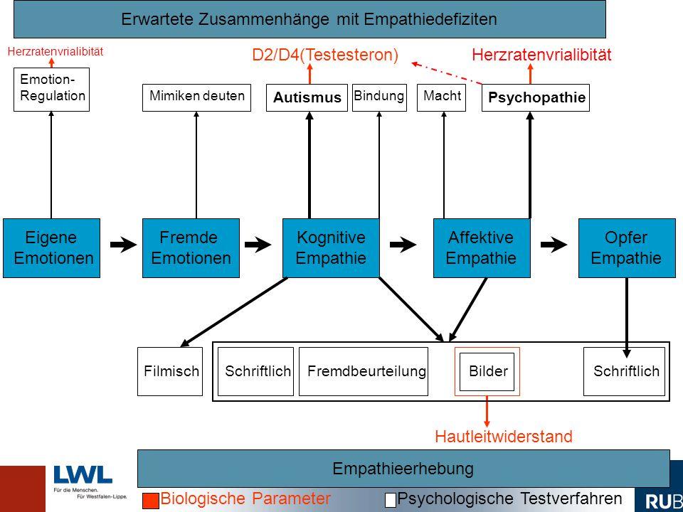 Fremde Emotionen Kognitive Empathie Affektive Empathie Empathieerhebung Opfer Empathie Erwartete Zusammenhänge mit Empathiedefiziten Eigene Emotionen