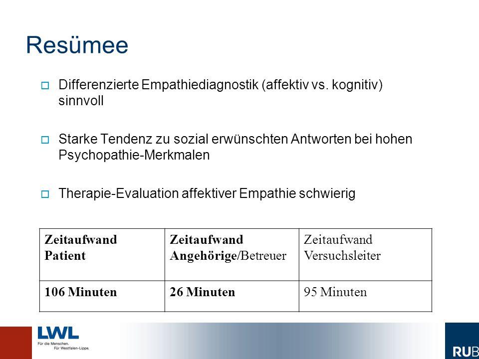 Resümee   Differenzierte Empathiediagnostik (affektiv vs. kognitiv) sinnvoll   Starke Tendenz zu sozial erwünschten Antworten bei hohen Psychopath