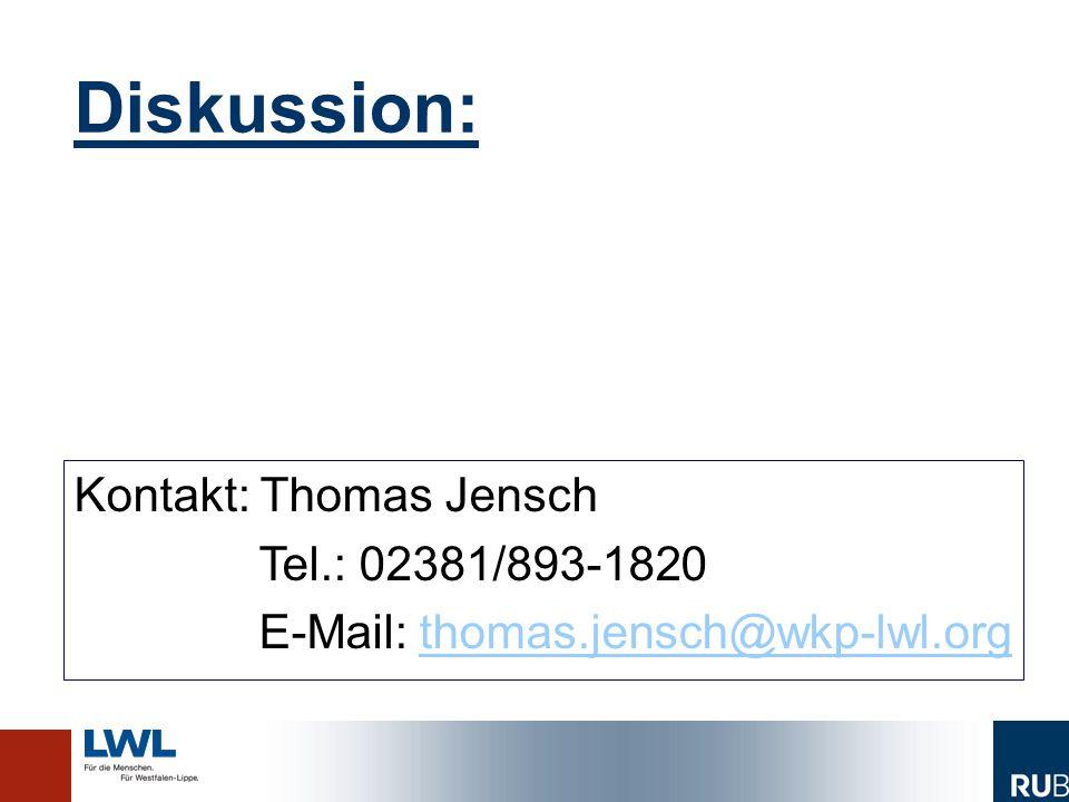 Diskussion: Kontakt: Thomas Jensch Tel.: 02381/893-1820 E-Mail: thomas.jensch@wkp-lwl.orgthomas.jensch@wkp-lwl.org