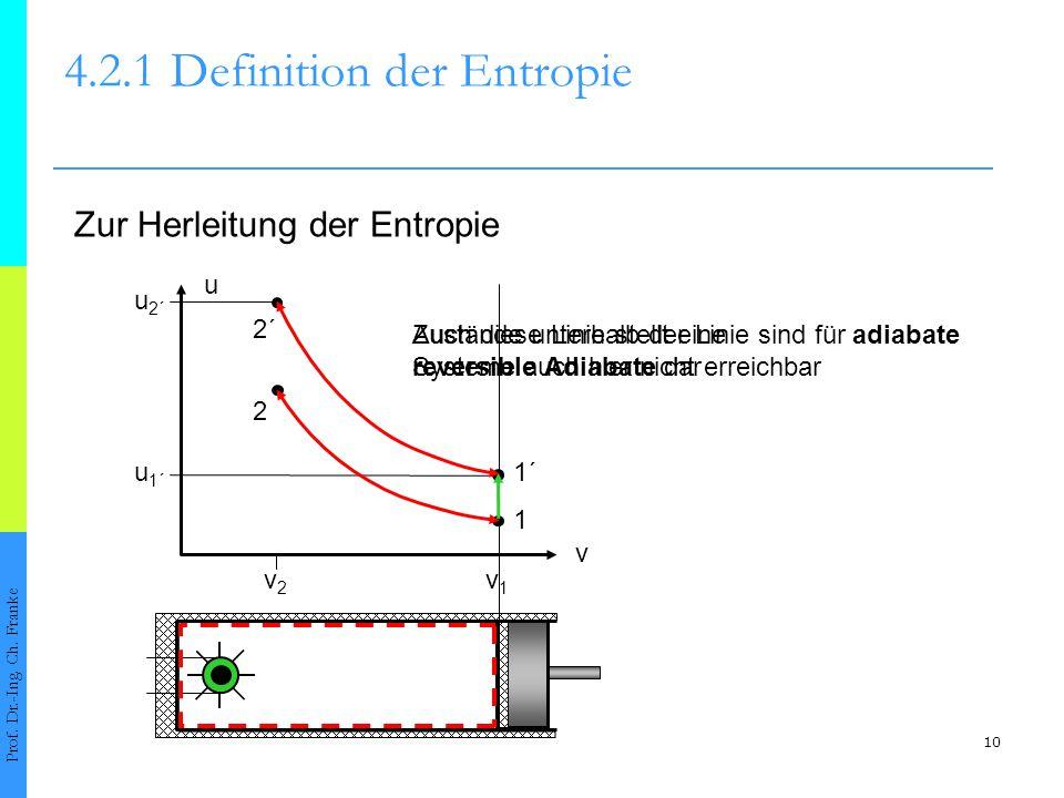 10 4.2.1Definition der Entropie Prof. Dr.-Ing. Ch. Franke Zur Herleitung der Entropie v v1v1 v2v2 u 2´ u 1´ Auch diese Linie stellt eine reversible Ad