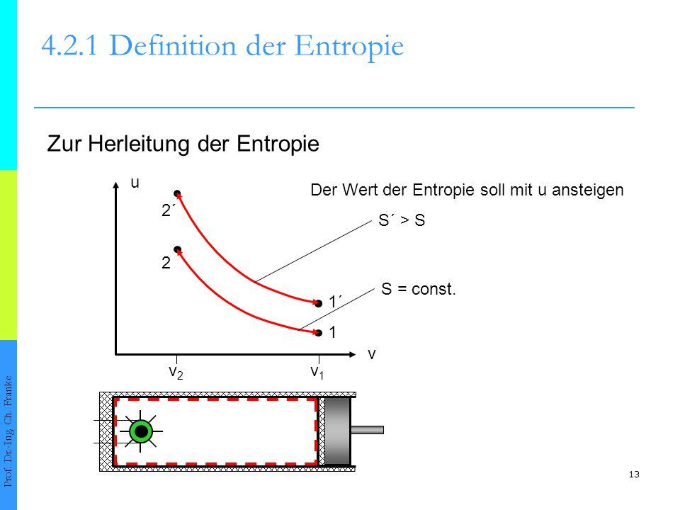 13 4.2.1Definition der Entropie Prof. Dr.-Ing. Ch. Franke Zur Herleitung der Entropie v v1v1 v2v2 u 1´ 1 2 2´ S´ > S S = const. Der Wert der Entropie