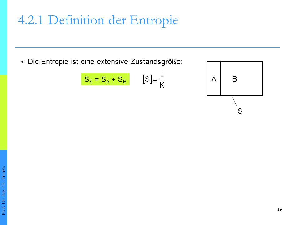 19 4.2.1Definition der Entropie Prof. Dr.-Ing. Ch. Franke Die Entropie ist eine extensive Zustandsgröße: A B S S S = S A + S B