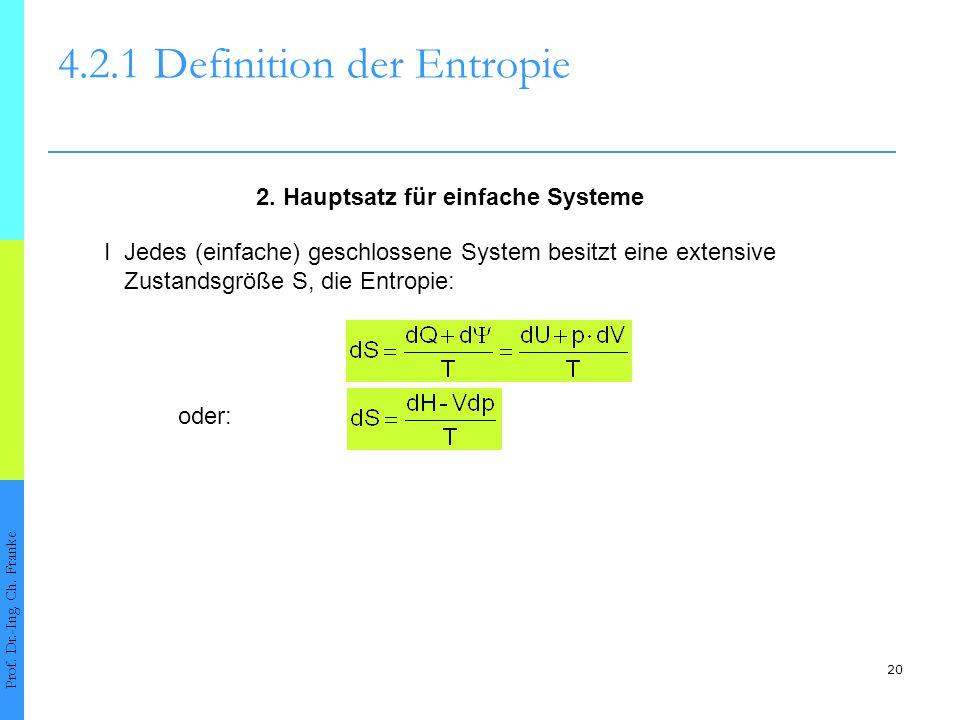 20 4.2.1Definition der Entropie Prof. Dr.-Ing. Ch. Franke I Jedes (einfache) geschlossene System besitzt eine extensive Zustandsgröße S, die Entropie: