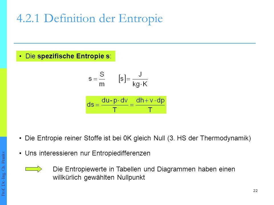 22 4.2.1Definition der Entropie Prof. Dr.-Ing. Ch. Franke Die spezifische Entropie s: Die Entropie reiner Stoffe ist bei 0K gleich Null (3. HS der The