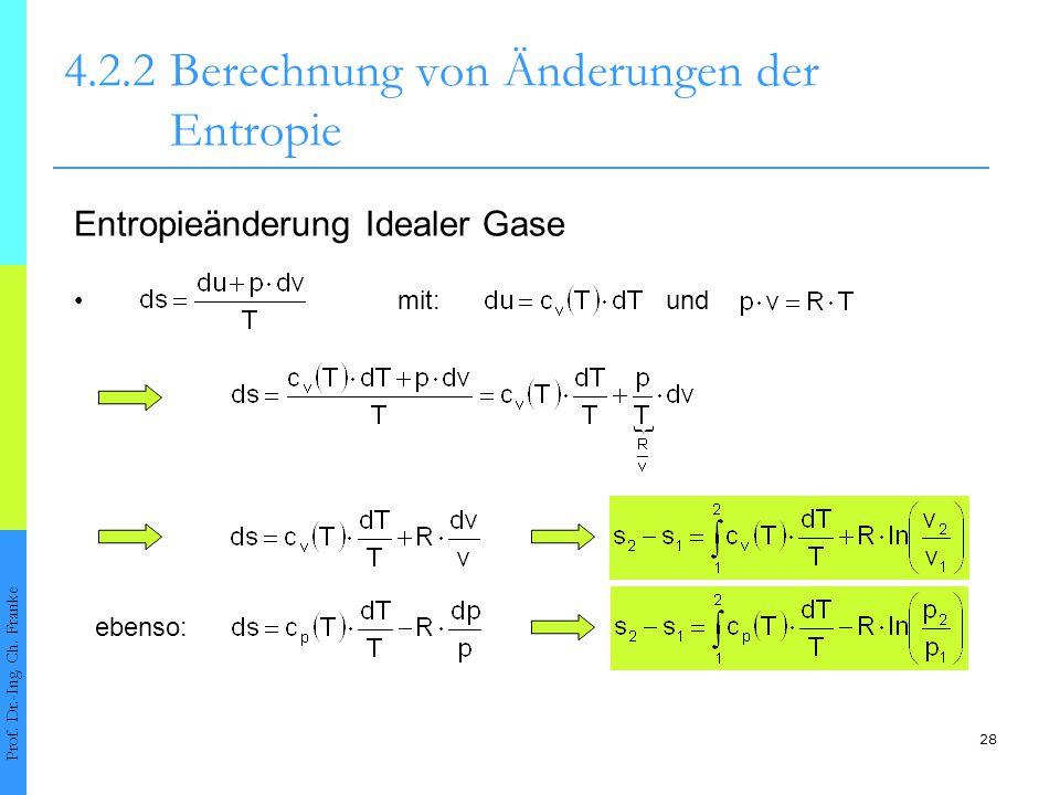 28 4.2.2Berechnung von Änderungen der Entropie Prof. Dr.-Ing. Ch. Franke Entropieänderung Idealer Gase mit:und ebenso: