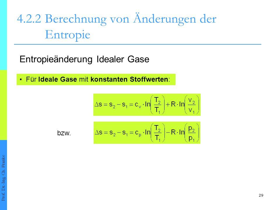 29 4.2.2Berechnung von Änderungen der Entropie Prof. Dr.-Ing. Ch. Franke Für Ideale Gase mit konstanten Stoffwerten: Entropieänderung Idealer Gase bzw