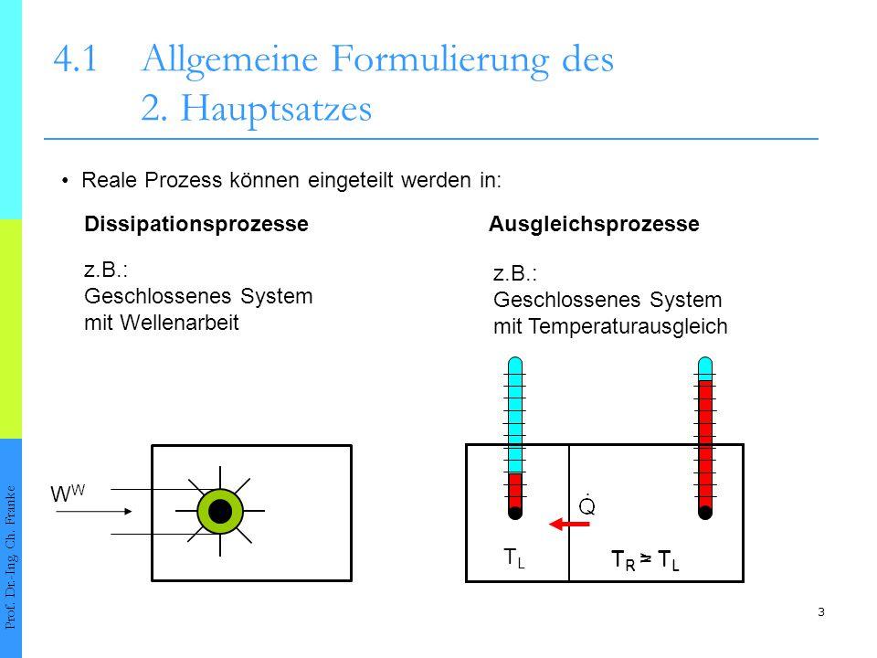 3 4.1Allgemeine Formulierung des 2. Hauptsatzes Prof. Dr.-Ing. Ch. Franke Reale Prozess können eingeteilt werden in: Dissipationsprozesse z.B.: Geschl
