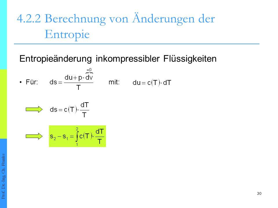 30 4.2.2Berechnung von Änderungen der Entropie Prof. Dr.-Ing. Ch. Franke Für: Entropieänderung inkompressibler Flüssigkeiten mit: