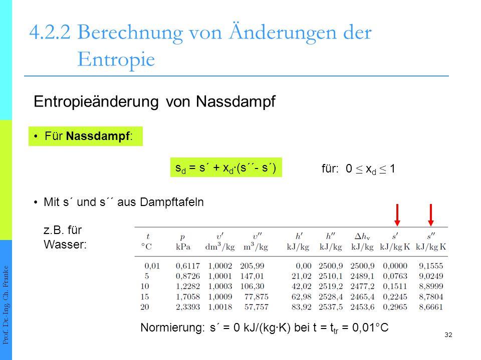 32 4.2.2Berechnung von Änderungen der Entropie Prof. Dr.-Ing. Ch. Franke Für Nassdampf: Entropieänderung von Nassdampf s d = s´ + x d ∙ (s´´- s´) Mit