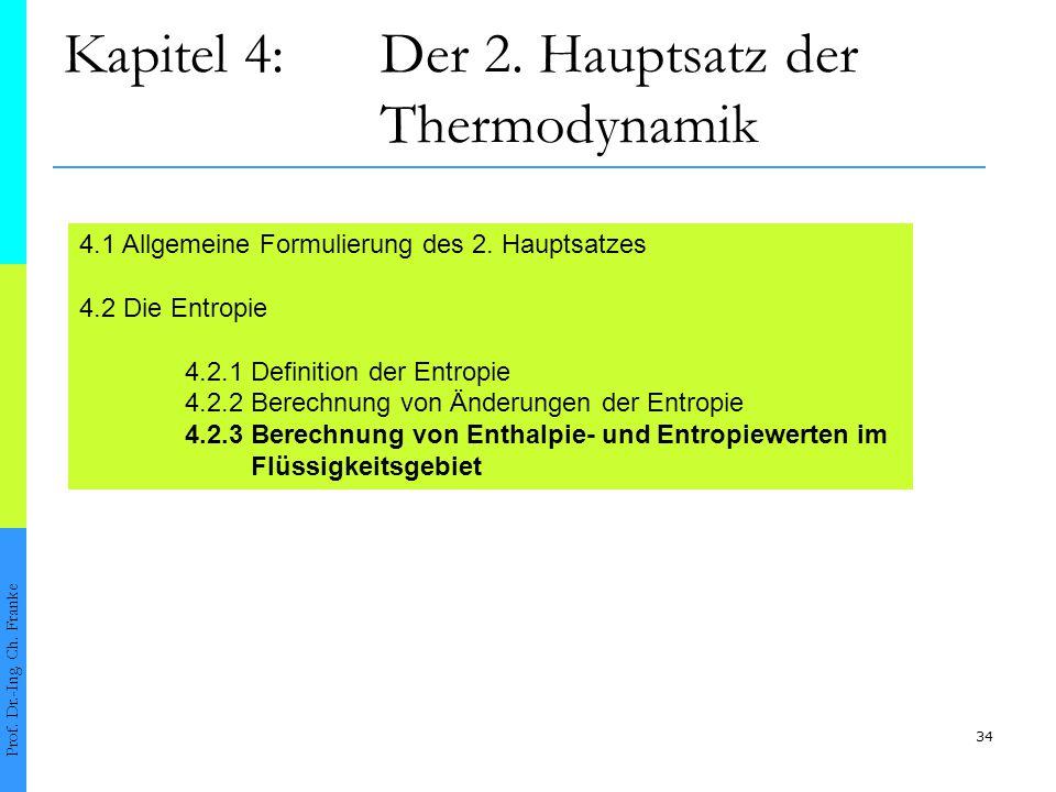 34 Kapitel 4:Der 2. Hauptsatz der Thermodynamik Prof. Dr.-Ing. Ch. Franke 4.1 Allgemeine Formulierung des 2. Hauptsatzes 4.2 Die Entropie 4.2.1 Defini