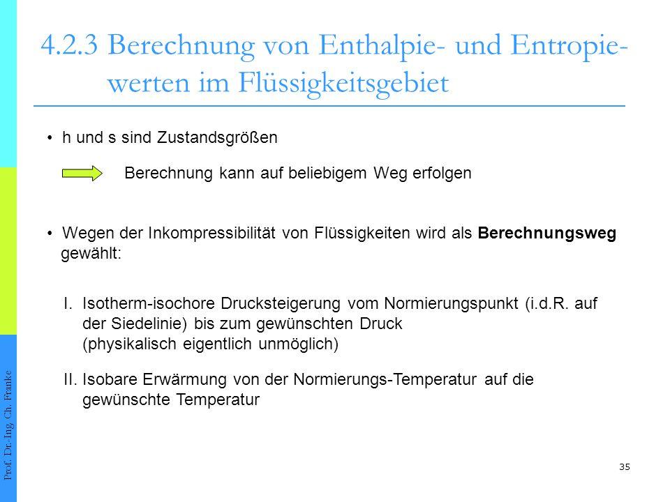35 4.2.3Berechnung von Enthalpie- und Entropie- werten im Flüssigkeitsgebiet Prof. Dr.-Ing. Ch. Franke h und s sind Zustandsgrößen Berechnung kann auf