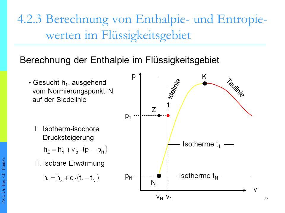 36 4.2.3Berechnung von Enthalpie- und Entropie- werten im Flüssigkeitsgebiet Prof. Dr.-Ing. Ch. Franke Berechnung der Enthalpie im Flüssigkeitsgebiet