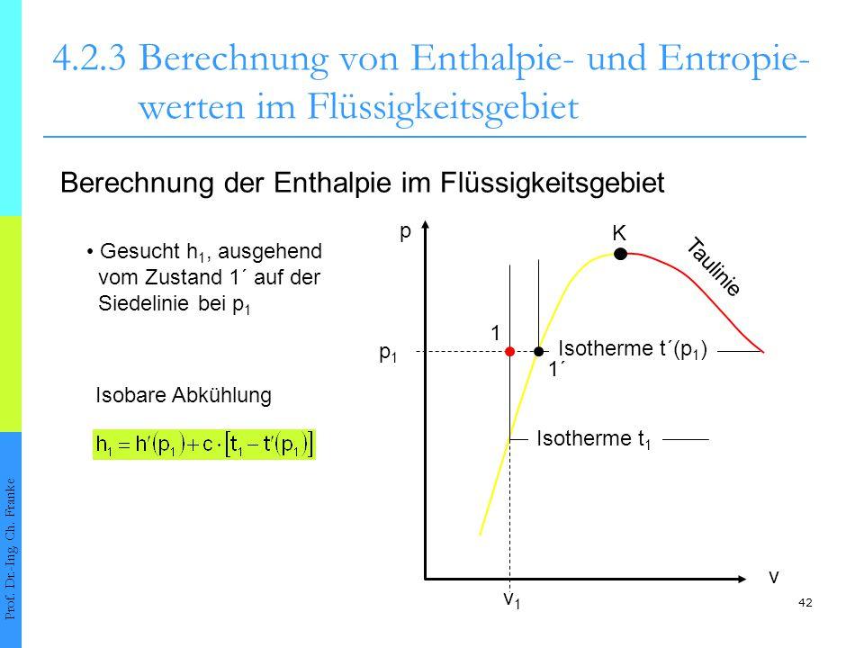 1 42 4.2.3Berechnung von Enthalpie- und Entropie- werten im Flüssigkeitsgebiet Prof. Dr.-Ing. Ch. Franke Berechnung der Enthalpie im Flüssigkeitsgebie