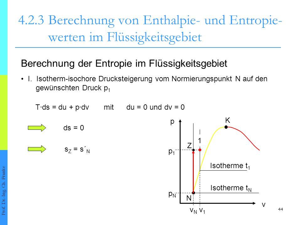 44 4.2.3Berechnung von Enthalpie- und Entropie- werten im Flüssigkeitsgebiet Prof. Dr.-Ing. Ch. Franke Berechnung der Entropie im Flüssigkeitsgebiet I