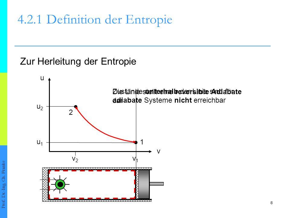Die Linie stellt eine reversible Adiabate dar Zustände unterhalb der Linie sind für adiabate Systeme nicht erreichbar 8 4.2.1Definition der Entropie P