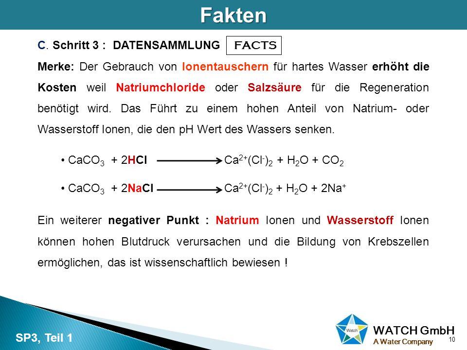 WATCH GmbH A Water CompanyFakten C. Schritt 3 : DATENSAMMLUNG FACTS Merke: Der Gebrauch von Ionentauschern für hartes Wasser erhöht die Kosten weil Na