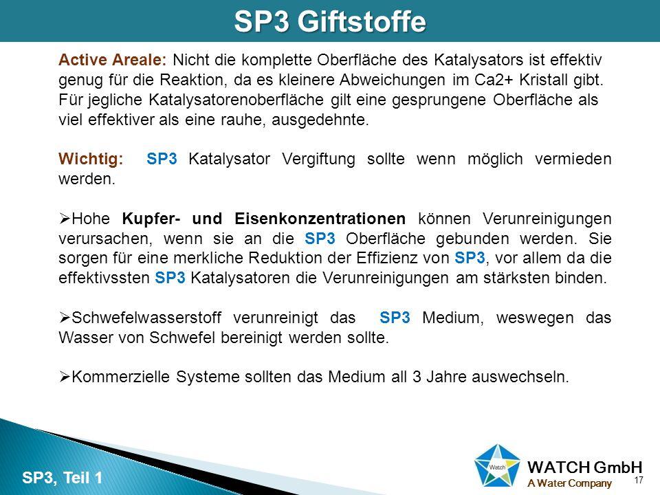 WATCH GmbH A Water Company SP3 Giftstoffe Active Areale: Nicht die komplette Oberfläche des Katalysators ist effektiv genug für die Reaktion, da es kl