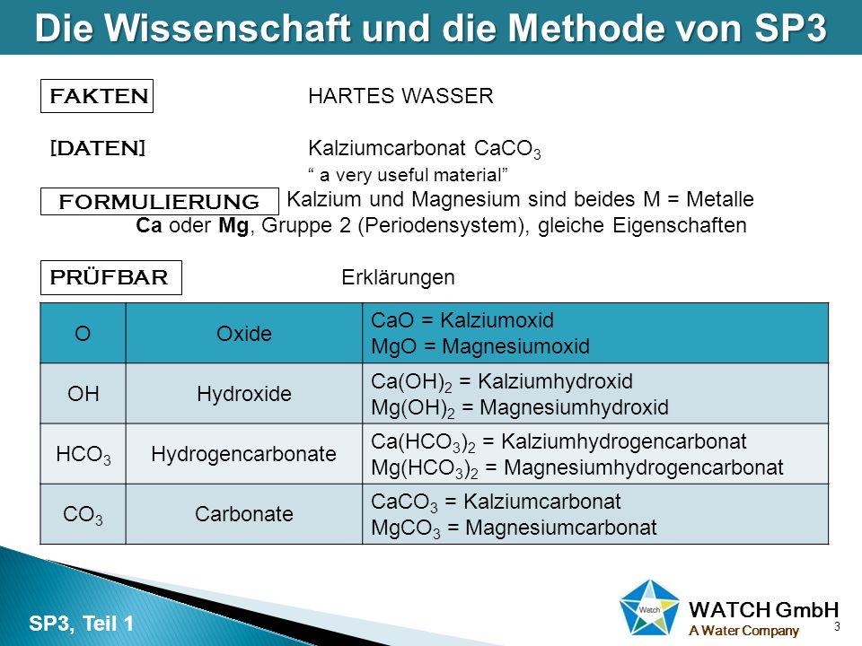 """WATCH GmbH A Water Company FAKTEN HARTES WASSER [DATEN] Kalziumcarbonat CaCO 3 """" a very useful material"""" """" FORMULIERUNG Kalzium und Magnesium sind bei"""