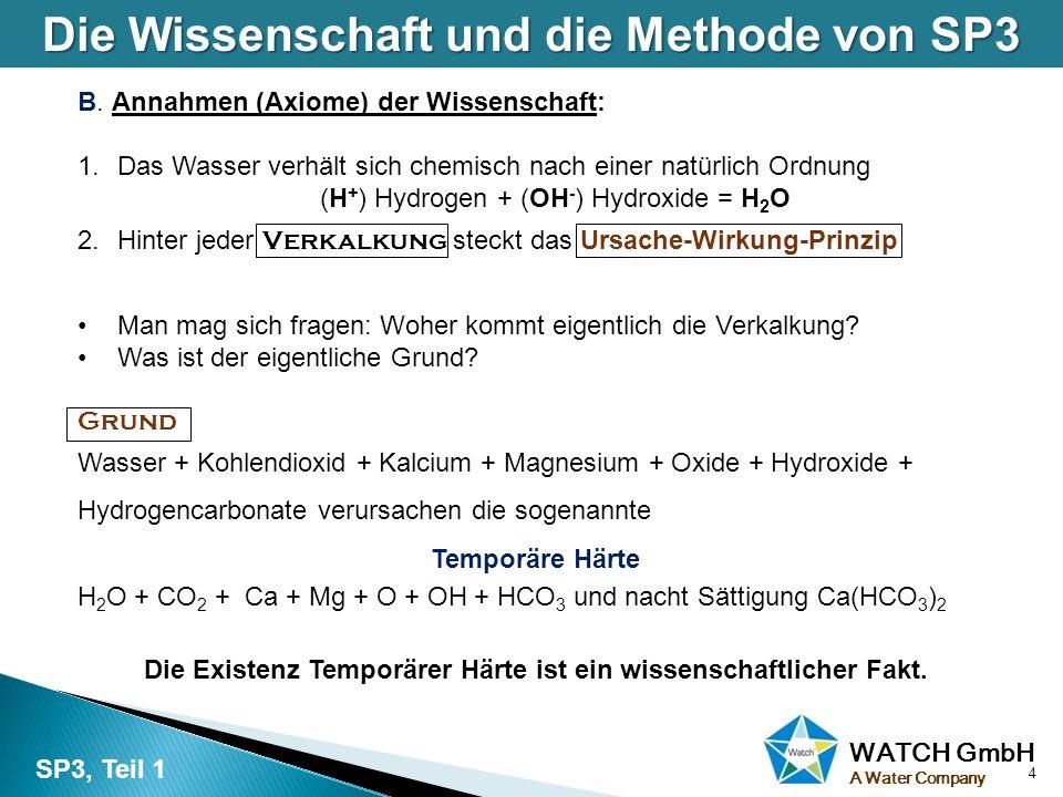 WATCH GmbH A Water Company B. Annahmen (Axiome) der Wissenschaft: 1.Das Wasser verhält sich chemisch nach einer natürlich Ordnung (H + ) Hydrogen + (O