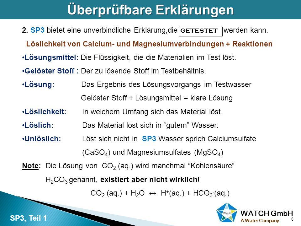 WATCH GmbH A Water Company Überprüfbare Erklärungen 2. SP3 bietet eine unverbindliche Erklärung,die getestet werden kann. Löslichkeit von Calcium- und