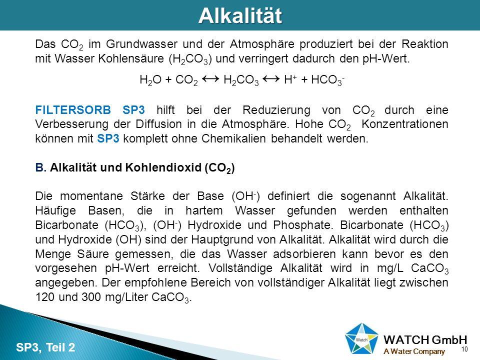 WATCH GmbH A Water CompanyAlkalität Das CO 2 im Grundwasser und der Atmosphäre produziert bei der Reaktion mit Wasser Kohlensäure (H 2 CO 3 ) und verr