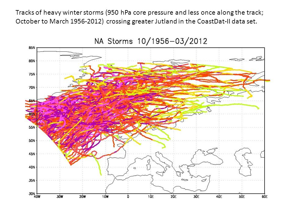 Tracks of heavy winter storms (950 hPa core pressure and less once along the track; October to March 1956-2012) crossing greater Jutland in the CoastDat-II data set.
