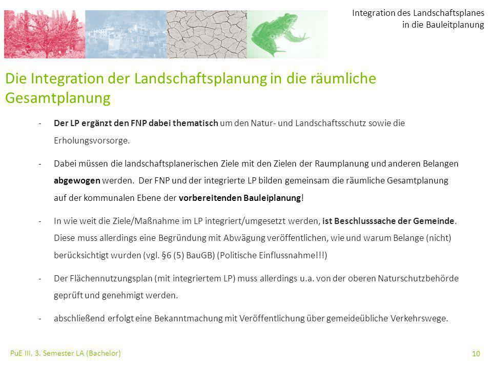 Integration des Landschaftsplanes in die Bauleitplanung PuE III, 3. Semester LA (Bachelor) 10 Die Integration der Landschaftsplanung in die räumliche