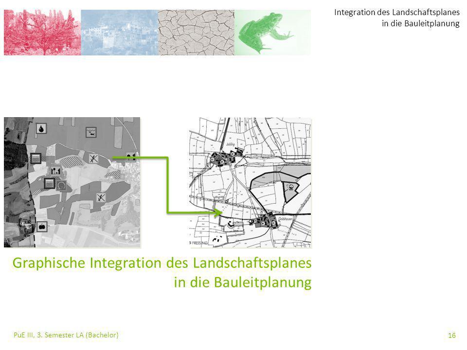 Integration des Landschaftsplanes in die Bauleitplanung PuE III, 3. Semester LA (Bachelor) 16 Graphische Integration des Landschaftsplanes in die Baul