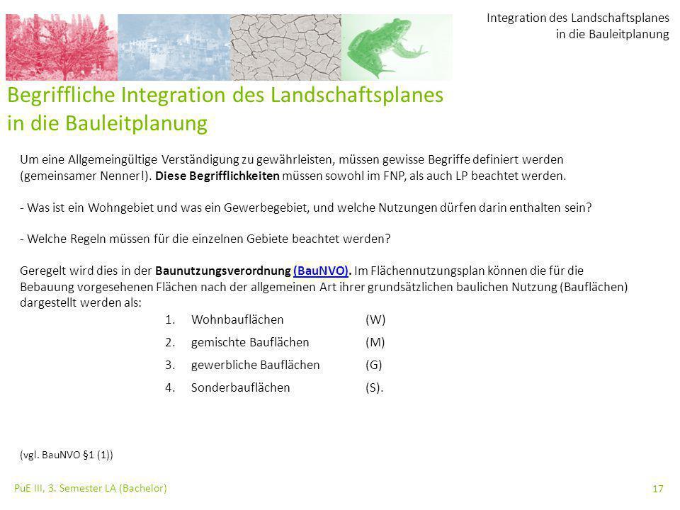 Integration des Landschaftsplanes in die Bauleitplanung PuE III, 3. Semester LA (Bachelor) 17 Begriffliche Integration des Landschaftsplanes in die Ba
