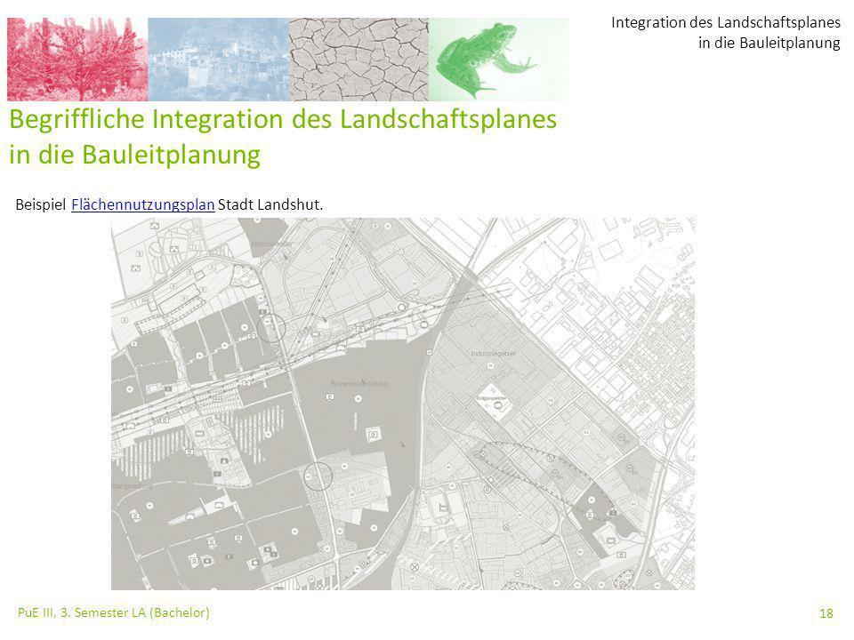 Integration des Landschaftsplanes in die Bauleitplanung PuE III, 3. Semester LA (Bachelor) 18 Begriffliche Integration des Landschaftsplanes in die Ba