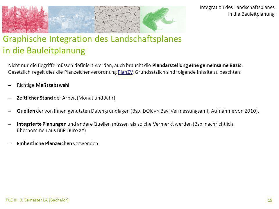 Integration des Landschaftsplanes in die Bauleitplanung PuE III, 3. Semester LA (Bachelor) 19 Graphische Integration des Landschaftsplanes in die Baul