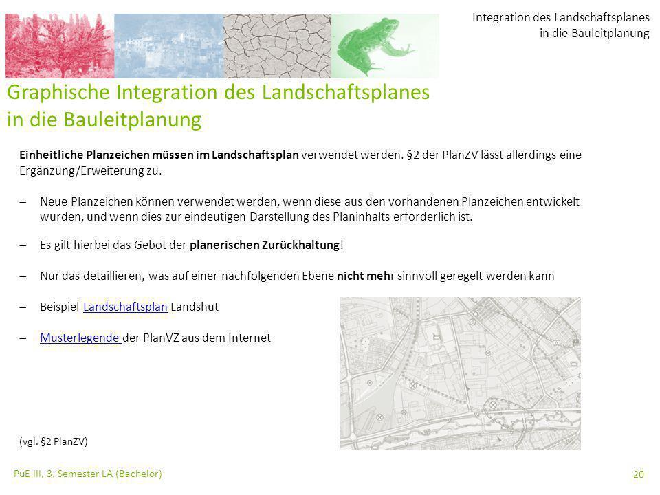 Integration des Landschaftsplanes in die Bauleitplanung PuE III, 3. Semester LA (Bachelor) 20 Graphische Integration des Landschaftsplanes in die Baul