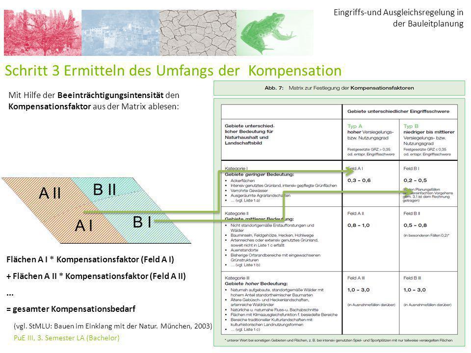 Eingriffs-und Ausgleichsregelung in der Bauleitplanung PuE III, 3. Semester LA (Bachelor) 37 Schritt 3 Ermitteln des Umfangs der Kompensation Mit Hilf