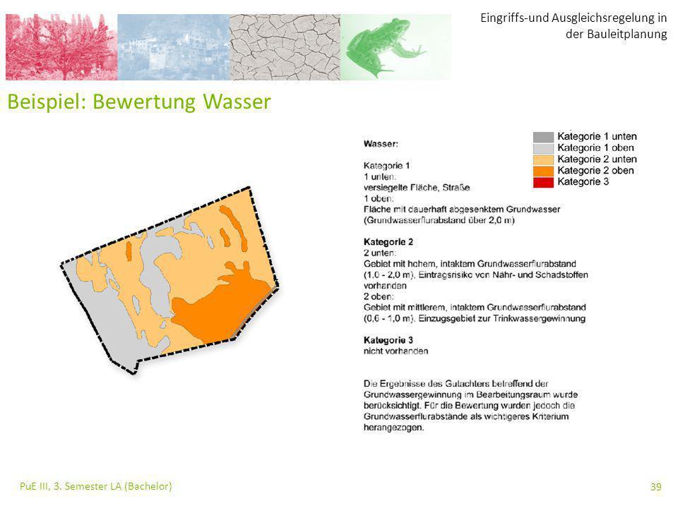 Eingriffs-und Ausgleichsregelung in der Bauleitplanung PuE III, 3. Semester LA (Bachelor) 39 Beispiel: Bewertung Wasser