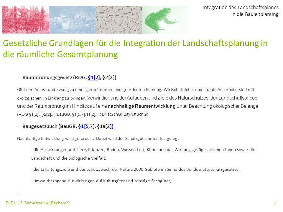 Integration des Landschaftsplanes in die Bauleitplanung PuE III, 3. Semester LA (Bachelor) 7 -Raumordnungsgesetz (ROG, §1[2], §2[2])§1[2 Gibt den Anla