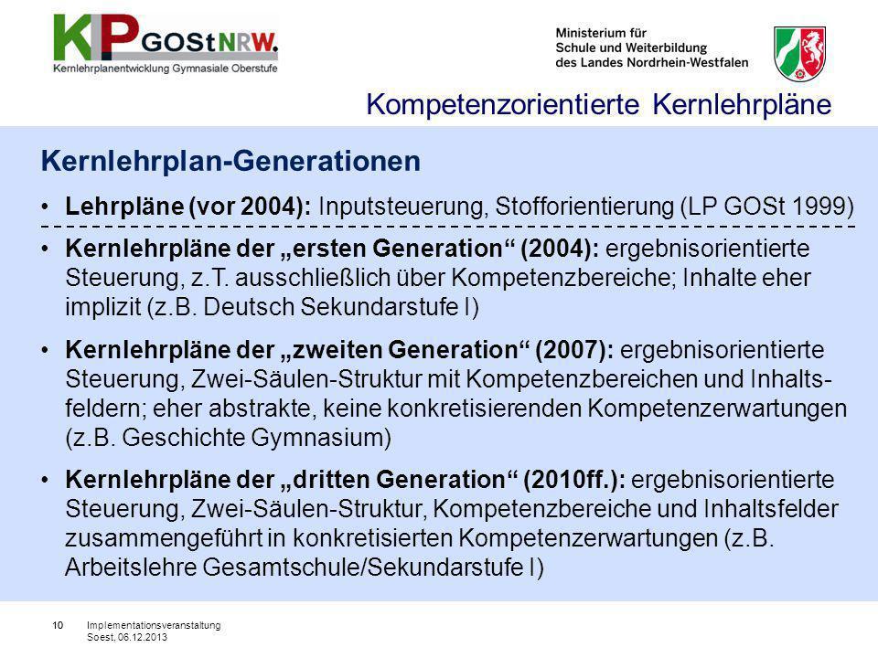 """10 Kernlehrplan-Generationen Lehrpläne (vor 2004): Inputsteuerung, Stofforientierung (LP GOSt 1999) Kernlehrpläne der """"ersten Generation"""" (2004): erge"""