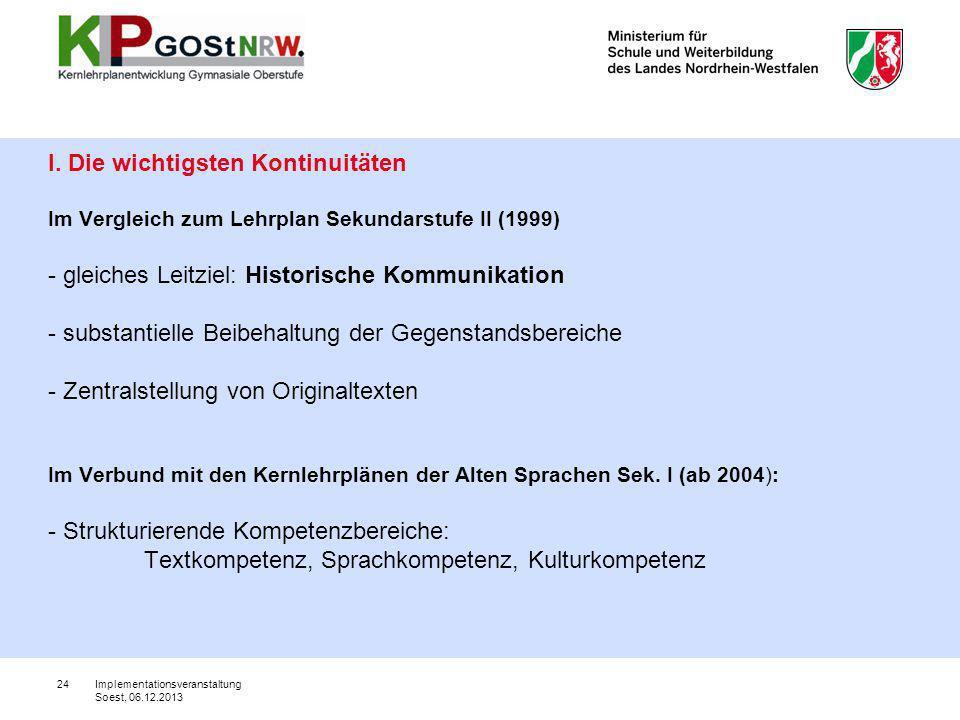 24 I. Die wichtigsten Kontinuitäten Im Vergleich zum Lehrplan Sekundarstufe II (1999) - gleiches Leitziel: Historische Kommunikation - substantielle B