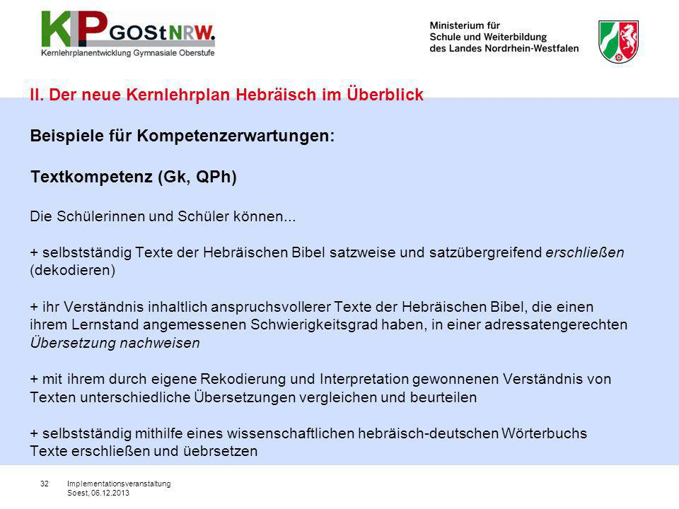 32 II. Der neue Kernlehrplan Hebräisch im Überblick Beispiele für Kompetenzerwartungen: Textkompetenz (Gk, QPh) Die Schülerinnen und Schüler können...