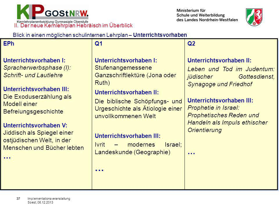 37 Blick in einen möglichen schulinternen Lehrplan – Unterrichtsvorhaben EPh Unterrichtsvorhaben I: Spracherwerbsphase (I): Schrift- und Lautlehre Unt