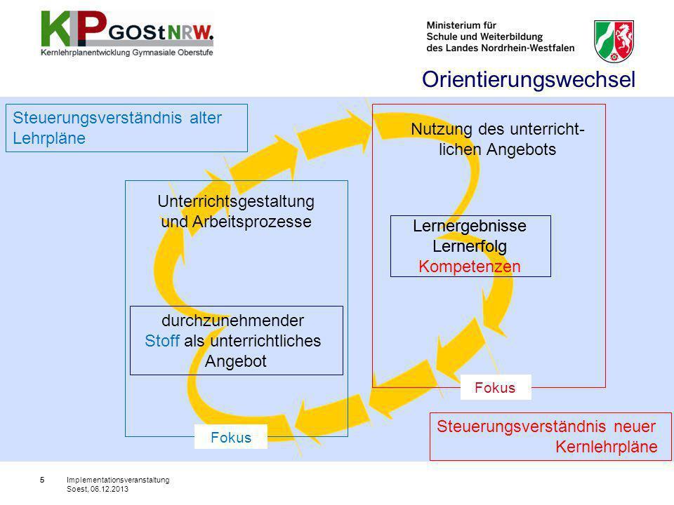 26 II. Der neue Kernlehrplan im Überblick Implementationsveranstaltung Soest, 06.12.2013