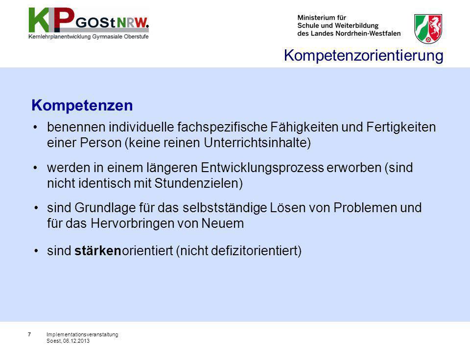48 Ende Teil II Vielen Dank für Ihre Aufmerksamkeit Implementationsveranstaltung Soest, 06.12.2013